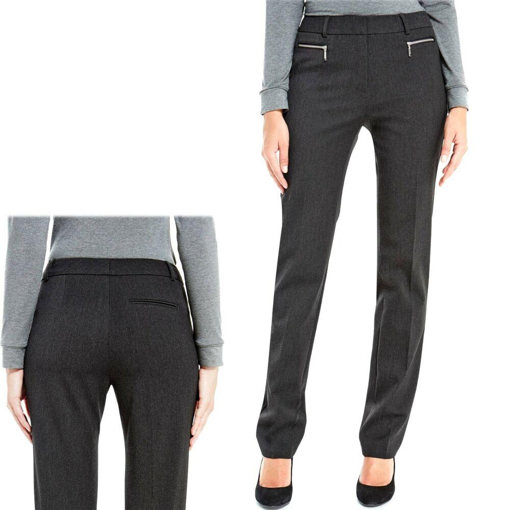 M&s Moderne Slim Leg Tailored Pantalon Avec 2 Way Stretch ~ Taille 14 Med. Anthracite