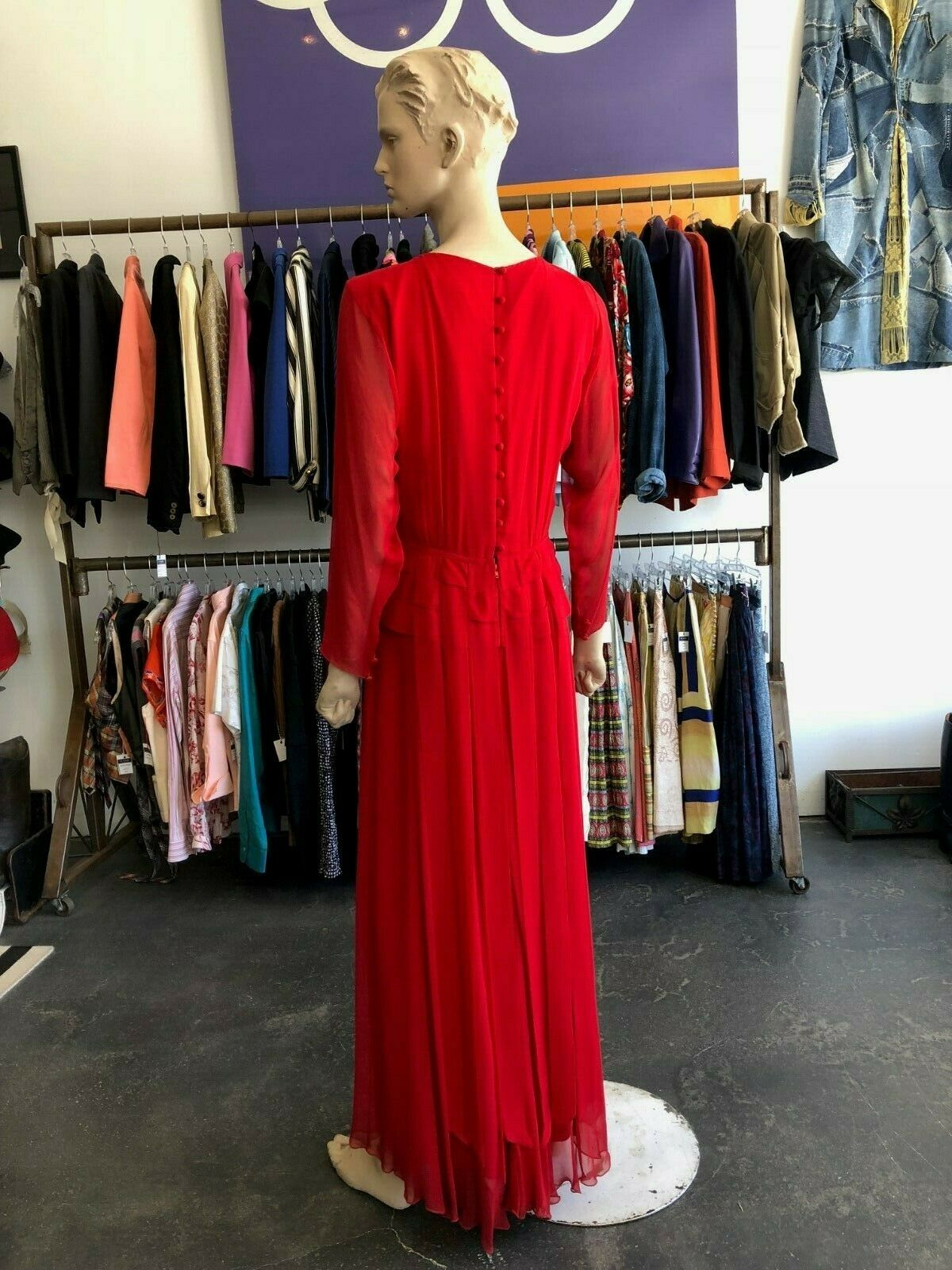 Vintage 80s Holly Harp Red Silk Gown - image 3