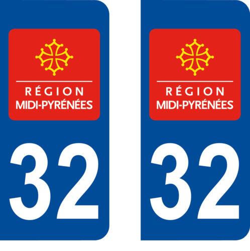 2 stickers autocollant plaque d/'immatriculation Département 32 GERS