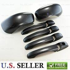 Black Carbon Fiber Look 4 Door Handle + Mirror Covers For 05-10 Chrysler 300C