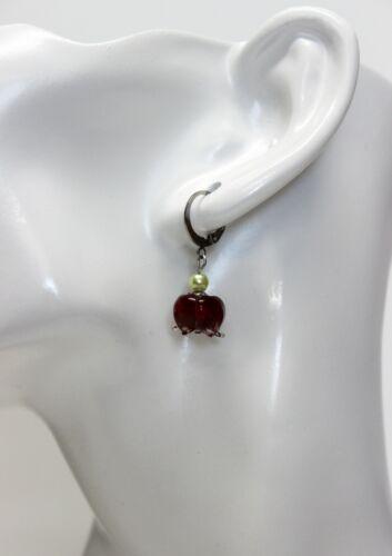 Glass Jewels Edelstahl Silber Ohrringe Ohrhänger Maiglöckchen Farbwahl #L066