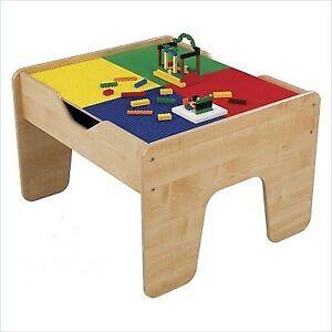 Kidkraft Kids Lego Train Compatible Natural Wood 2 in 1 Activity ...