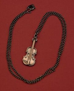 Violin-on-a-chain-Necklace-New