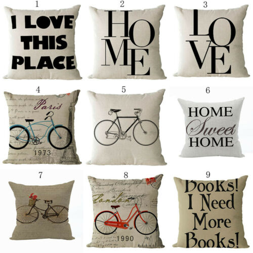 Modern Bicycle Wrods Cotton Linen Fashion Throw Pillow Case Sofa Cushion Cover