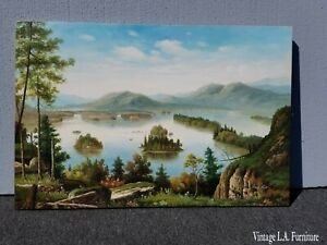 Vintage-Oil-on-Canvas-Picture-Painting-Forest-Scene-and-Lake-by-Kelly-Austin