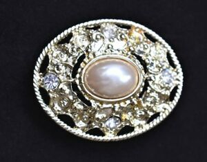 VTG-Rhinestone-Faux-Pearl-Brooch-Ornate-Coat-Sweater-Pin-Mid-Century-Jewelry