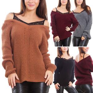 182f8271d8c560 Caricamento dell'immagine in corso Maglione-donna-pullover-effetto-doppiato- canottiera-tricot-maglia-