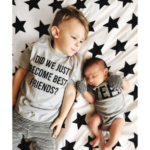 Newborn Toddler Infant Boys Letter Brother Matching Clothes Romper And T shirt