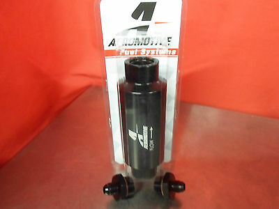 AEROMOTIVE RACING 12324 100 MICRON ORB-10 BLACK FUEL FILTER WITH 6-AN FITTINGS