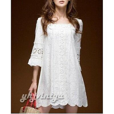 New Fashion Women Square Neck Boho Crochet Lace Floral Casual Mini Party Dress
