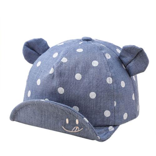 Gepunkte Baby Kinder Sonnenschutz Sonnenhut Mütze Cap Kappe Ohren Campming
