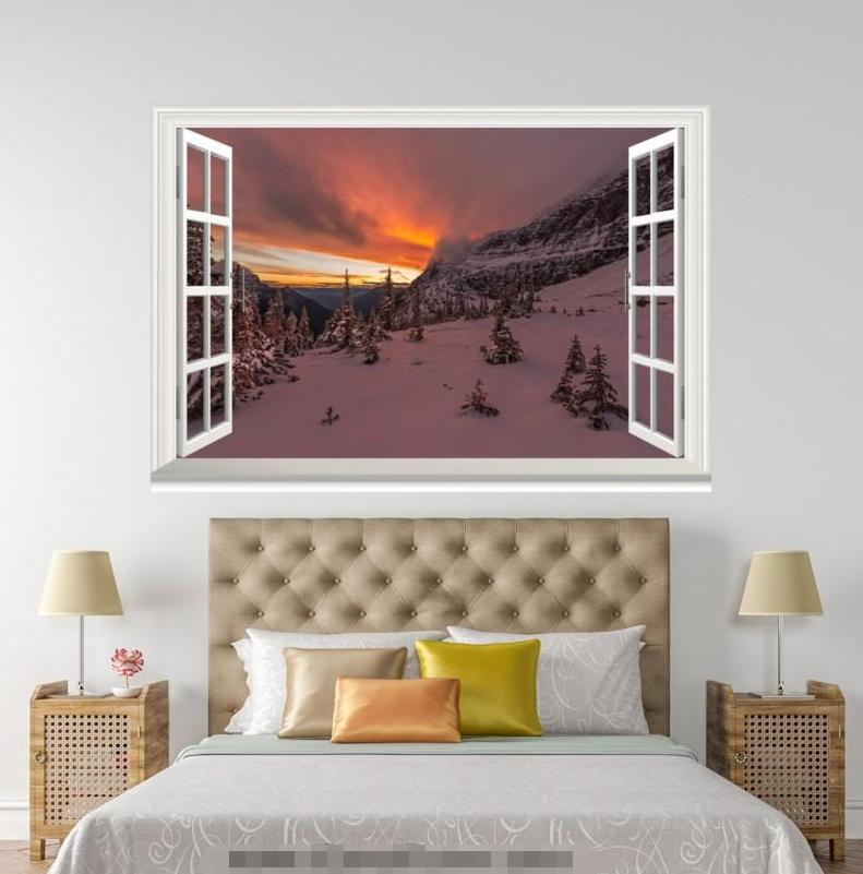 3D Dusk Night Snow Road 0108 Open Windows WallPaper Murals Wall Print AJ Jenny