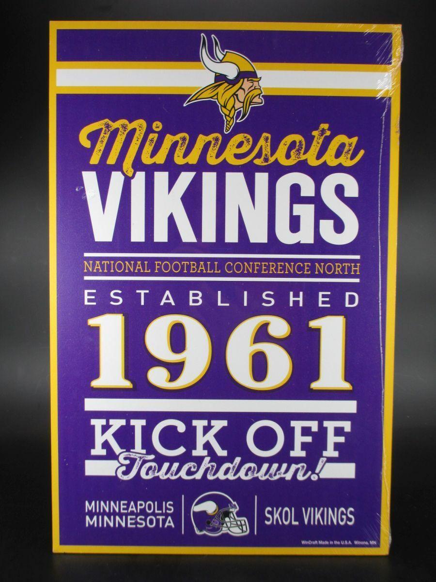 Minnesota Vikings Wooden Sign 43 cm NFL Football, Established Wood Sign