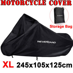 XL-Waterproof-Motorcycle-Touring-Motor-Bike-Cruiser-Scooter-Cover-Outdoor-Black