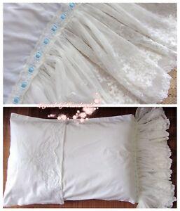 Victorian-Battenburg-Lace-Long-Ruffles-Pillow-Sham-Cover-White-Cotton-Wedding