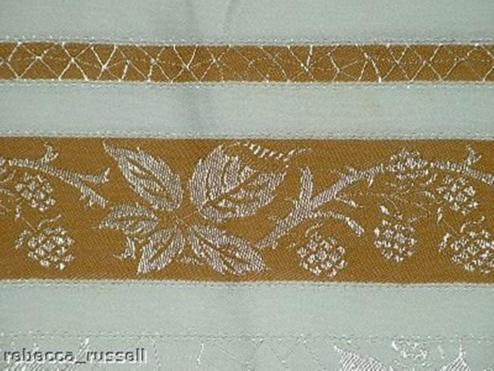 51 x 51 Vintage Tablecloth Mustard Spiderweb Damask