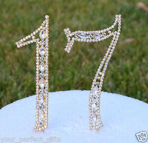 Image Is Loading 5 034 Rhinestone Gold Number Seventeen Bling Cake