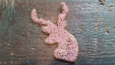 Patch Hirsch mit Strasssteinen und rosa Perlen Geweih Reh Weihnachten Bügelbild