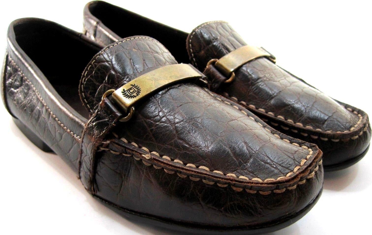 Chaps Damens Loafers Größe 6 B Braun Leder Gator Embossed Leder.