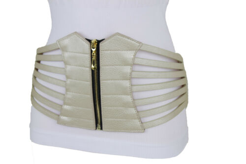 Women Belt Wide Elastic Hip High Waist Light Gold Champagne Corset Belt Size M L