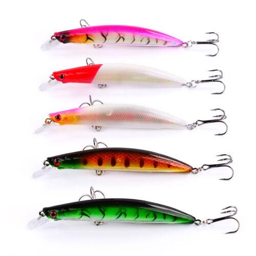 5pcs Lot Plastic Laser Minnow Fishing Lure Bait Bass Crankbait Tackle 11.5cm//14g