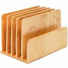 Bamboo Wood Desk File Organizer Holder For Book Mail Upright 10 X 65 X 7