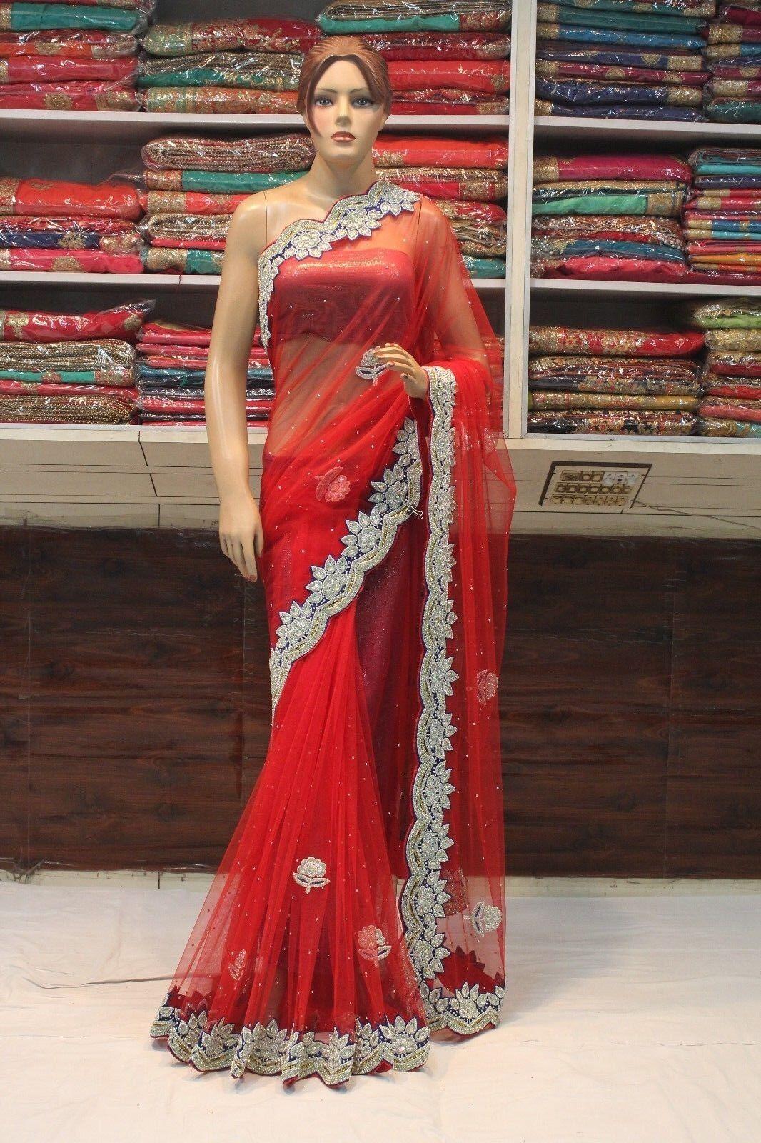 BOLLYWOOD INDIAN RED ZIRCON WORK NET CUT WORK SAREE SARI BRIDAL PARTY DRESS