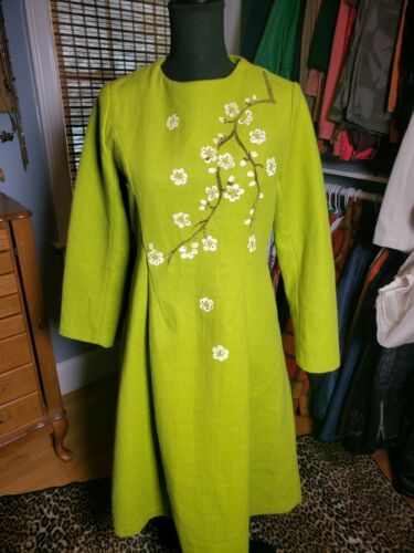 GORGEOUS LIME GREEN FTED WOOL HAND PAINTED DRESS