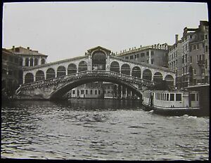 Glass-Magic-Lantern-Slide-BRIDGE-AT-VENICE-C1900-ITALY-PHOTO-VENEZIA