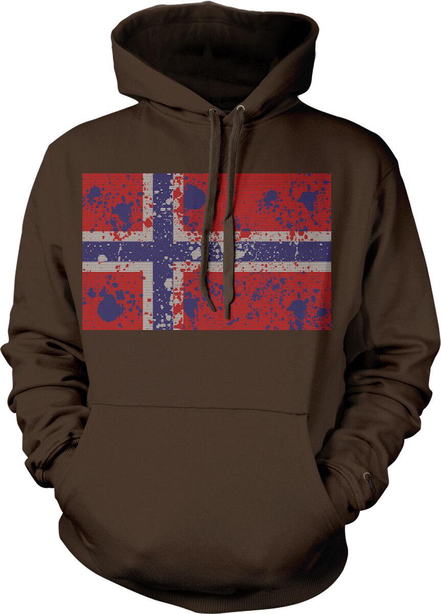 Norway Flag Paint Splatter Norwegian Country From Born NOR NO Hoodie Sweatshirt