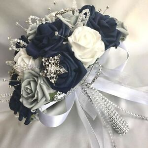 Brides Posy Bouquet Navy Blue White Grey Roses Artificial