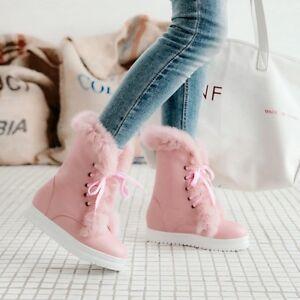 2019 Fashion Fur Trim Women S Round Toe Lace Up Ankle Boots Plus
