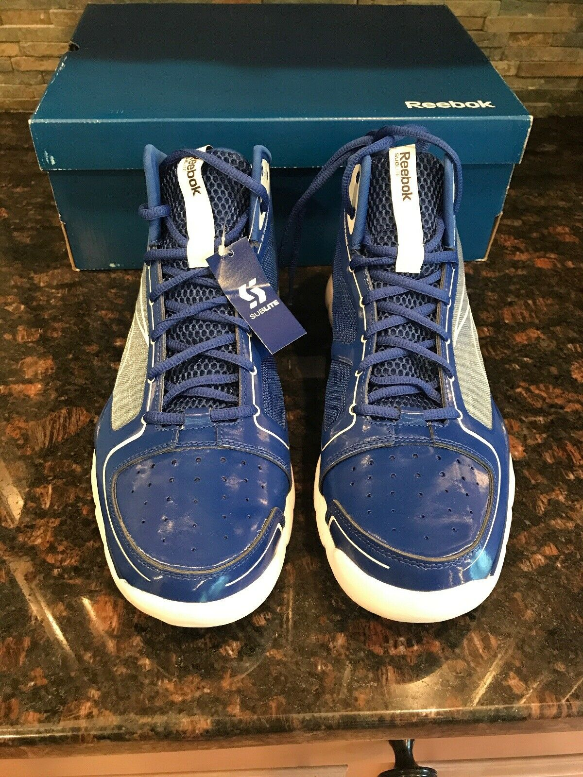 Reebok Sublite Pro Rise Promo Basketball Sneakers shoes Royal bluee White Mens 11