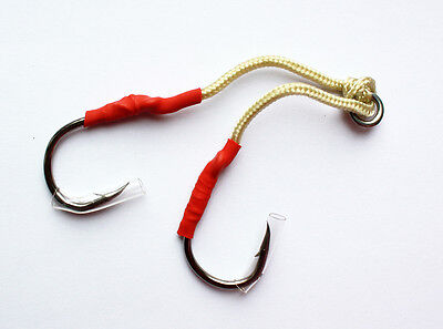 Black 12 PAIRS Size 2//0 Custom Offshore Tackle Double Assist Hooks