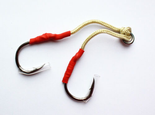Black Size #2 Custom Offshore Tackle Double Assist Hooks 6 PAIRS
