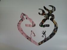 Browning Style Reg Buck and Pink Doe Camo Heart with Baby Doe and Buck