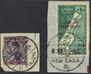 EGYPT-PALESTINE-1948-RARE-EL-MAJDAL-FULL-CANCEL-ON-20MILS-K-FAROUK-TIED-TO-PIECE