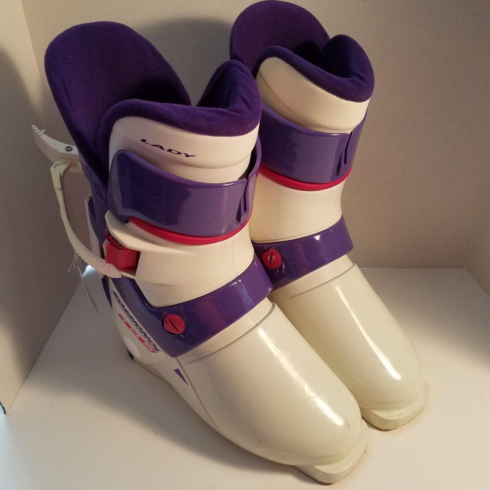 Rossignol Lady 105 daSie Ski Stiefel Größe 25.5 Weiß lila Made in
