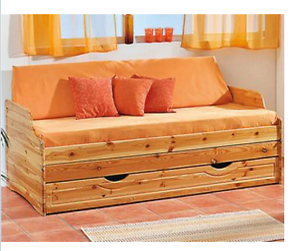 schlafsofa massiv holz doppelbett klappbett tagesbett bett kiefer mit lattenrost ebay. Black Bedroom Furniture Sets. Home Design Ideas