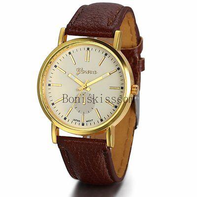 Classic Mens Womens Luxury Leather Band Gold Tone Dial Analog Quartz Wrist Watch