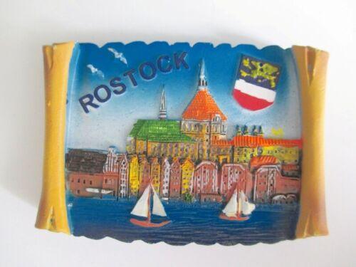 Rostock Poly Magnet Germany Souvenir Stadtansicht mit Wappen Möwe