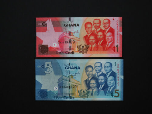 GHANA BANKNOTES BRILLIANT SET OF TWO NOTES MINT UNC * NEW ISSUE 2015