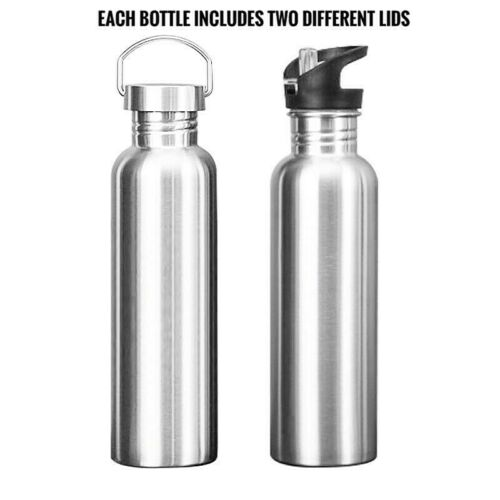 Stainless Steel Water Bottle Straw lids Cycling Camping Outdoor Travel 500ml-1L