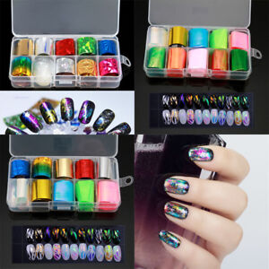 10-Colors-Nail-Art-Transfer-Foil-Stickers-amp-Star-Glue-For-Nail-Tips-Decoration