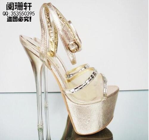 womens 17cm Lady Platform Open Toe Sandals High Heels Ankle Strap Buckle Shoes