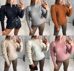 Damen-Rueschen-Rueschen-Lange-Puff-Armel-Hoher-Kragen-Strickpullover-Sweater-Top