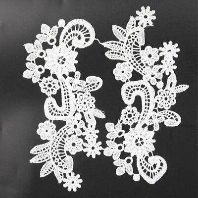 1Pair Floral Polyester Venise Motif Lace Trim Dress DIY Sewing Craft Applique
