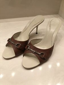 0ebc233579d Image is loading GUCCI-LADIES-BROWN-HORSEBIT-SANDAL-HEEL-SHOES-8