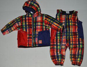 NWT Infant Boy 0-6 Mo Obermeyer Blue//Red Plaid Winter Jacket//Coat~Snowpants $149