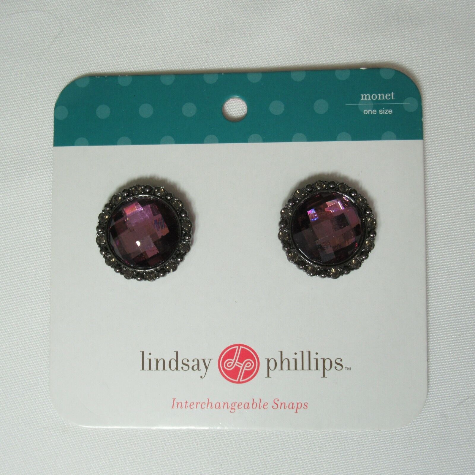 Lindsay Phillips Snaps Shoe Charms Purple Amethyst Faceted Stone Gem 1.5
